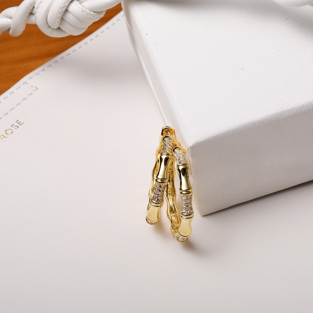CZ Bamboo Hoop Earrings for girls