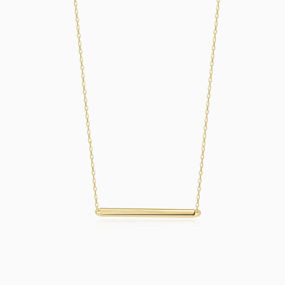 simple Bar Necklace Yellow Gold