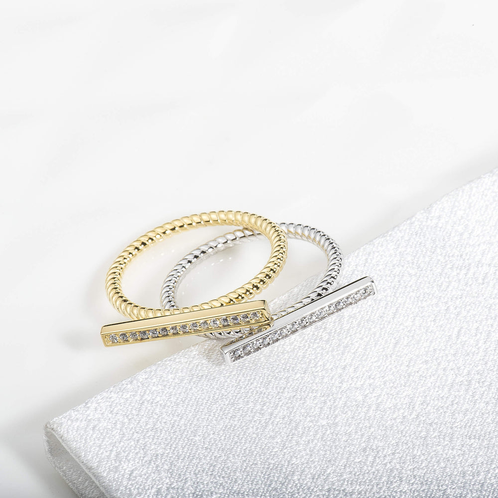 Minimalist Cubic Zirconia Bar Ring