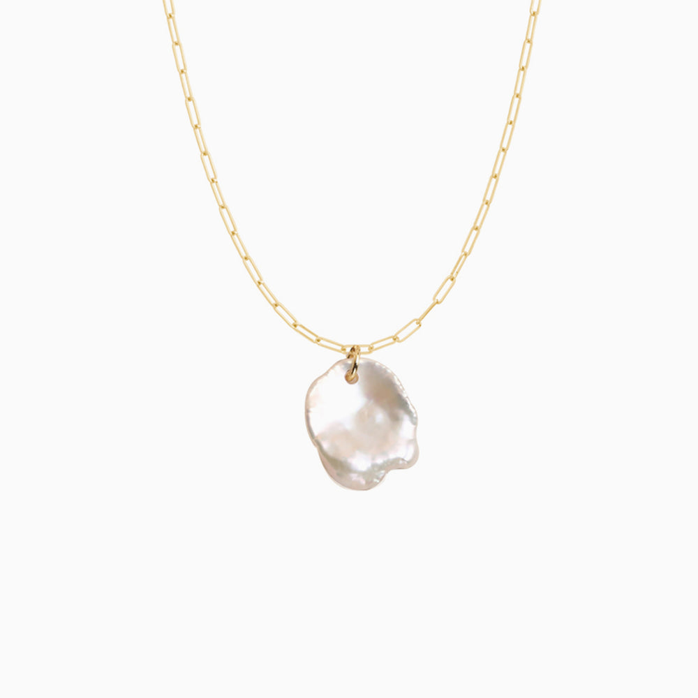 SLeaf Gold Natural Baroque Pearl Pendant Necklace
