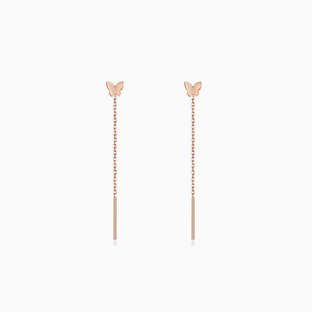 Tiny Butterfly Threader Earrings rose gold