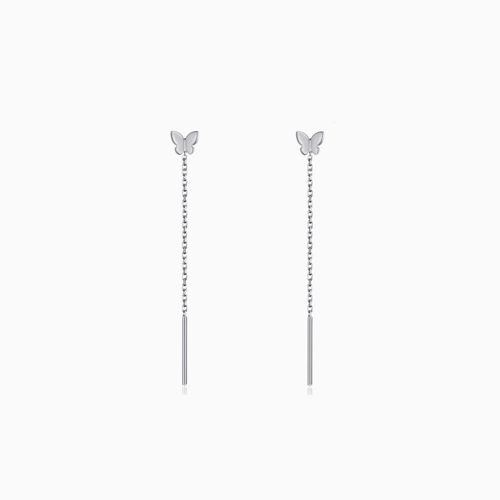 Tiny Butterfly Threader Earrings sterling silver