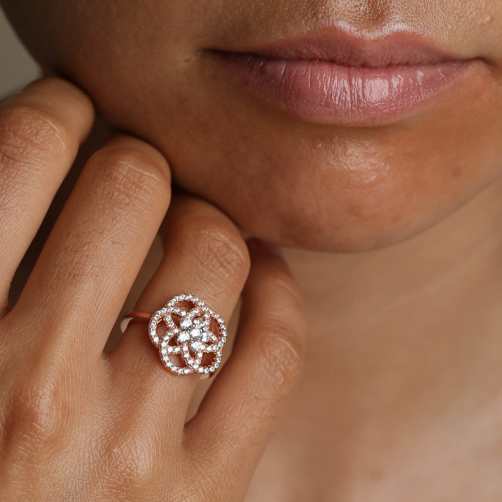 Cubic Zirconia Camellia Ring dainty cocktail ring