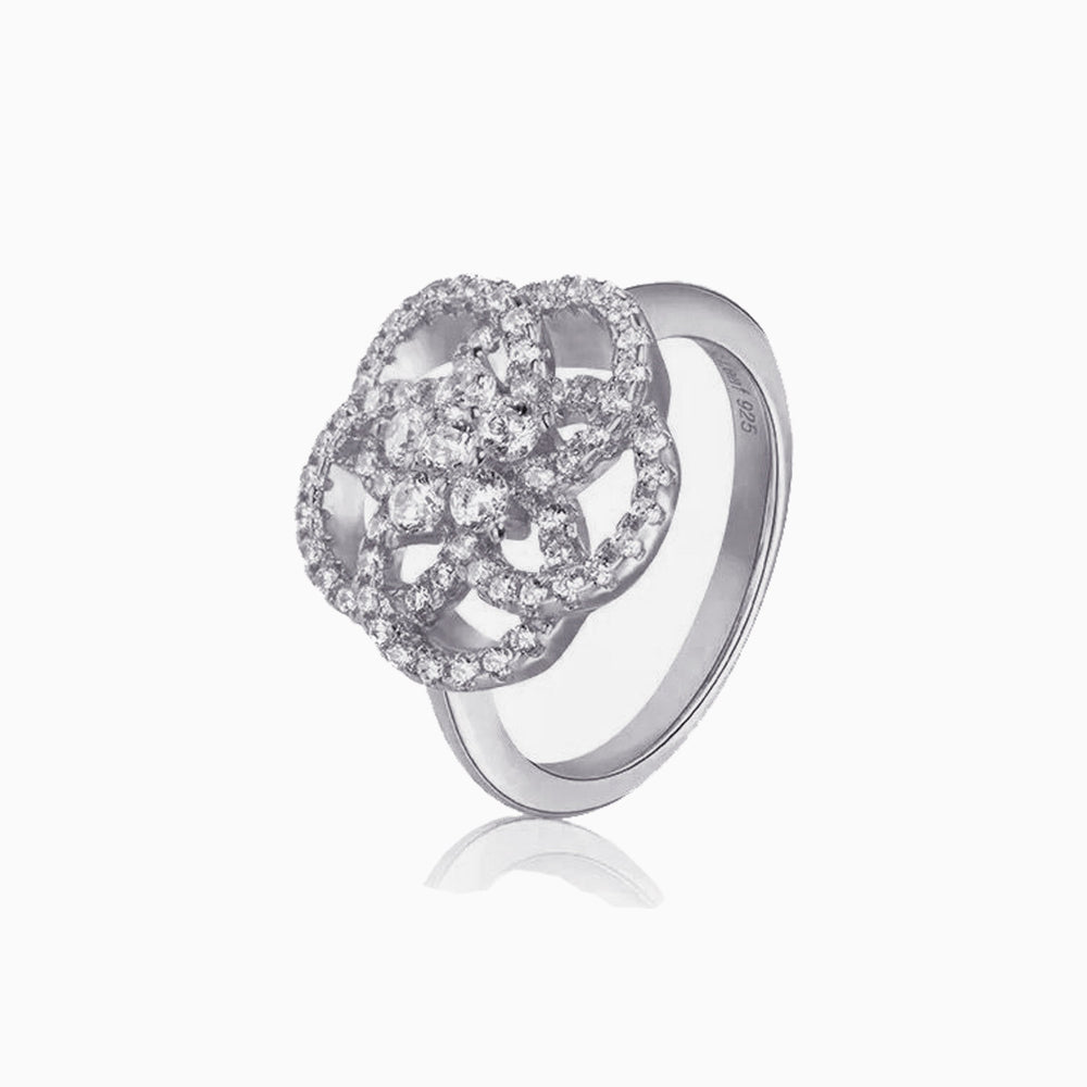 Cubic Zirconia Camellia cocktail Ring sterling silver