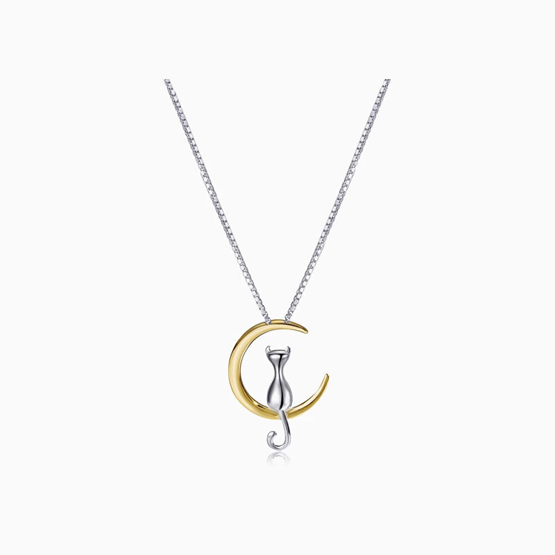 Cat Moon Necklace silver gold