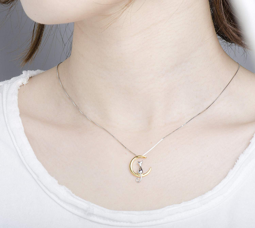 cute Cat Moon Necklace sterling silver