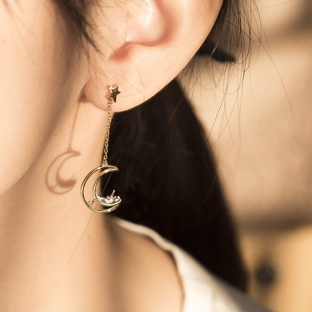 Moon Star Cat Dangle Earrings