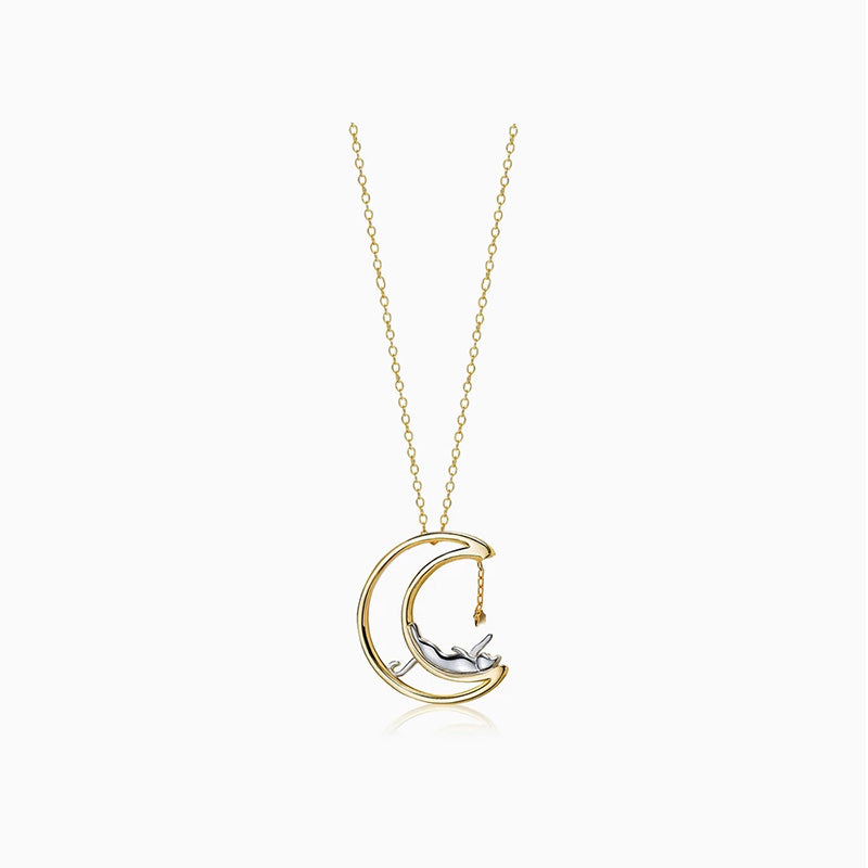 cat star moon necklace sterling silver gold