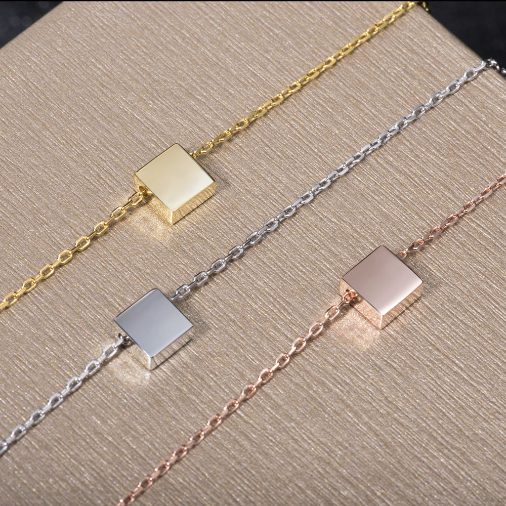 dainty tiny Square Pendant Necklace everyday wear