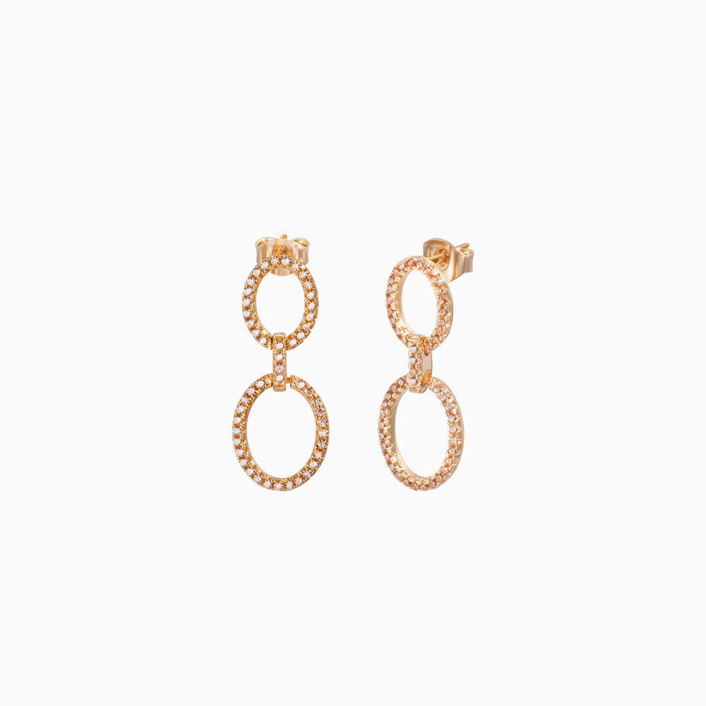 CZ Round Eternity Dangle Earrings