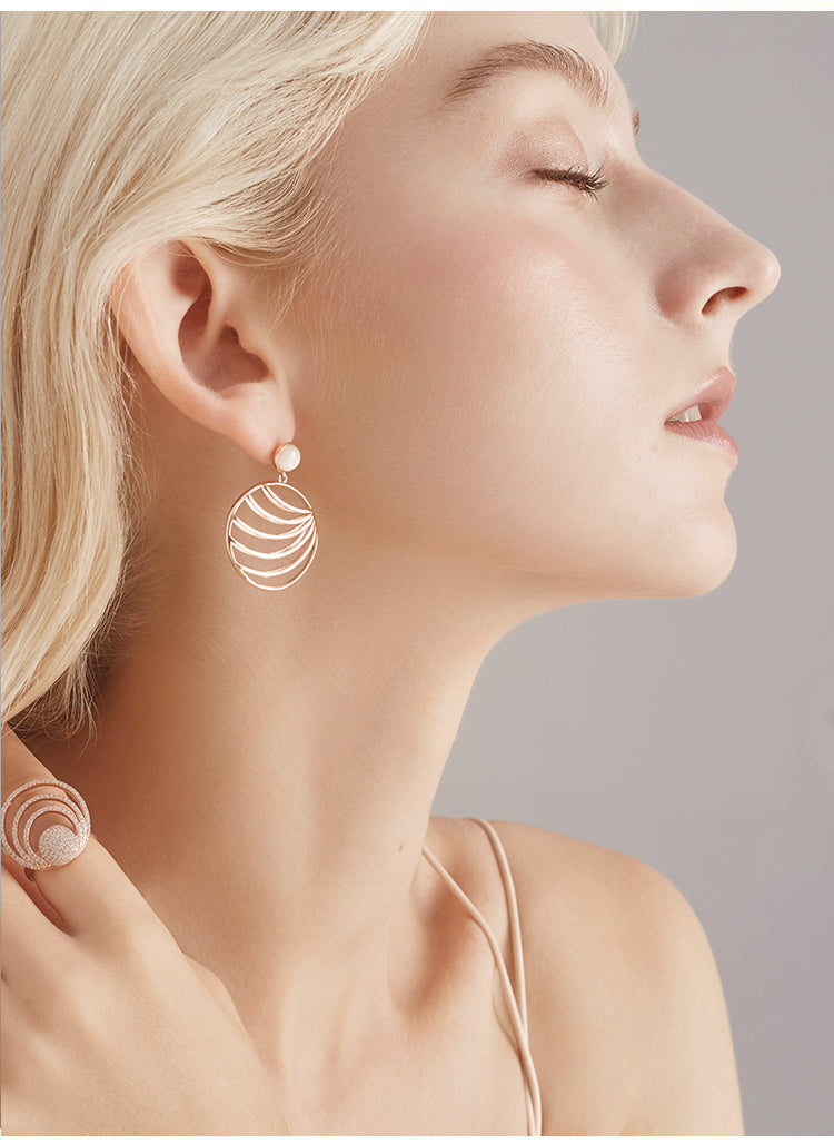 dainty leaf drop earrings