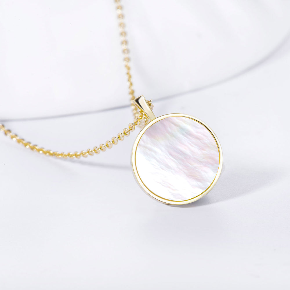 dainty Mother of Pearl Round Pendant Necklace gift ideas