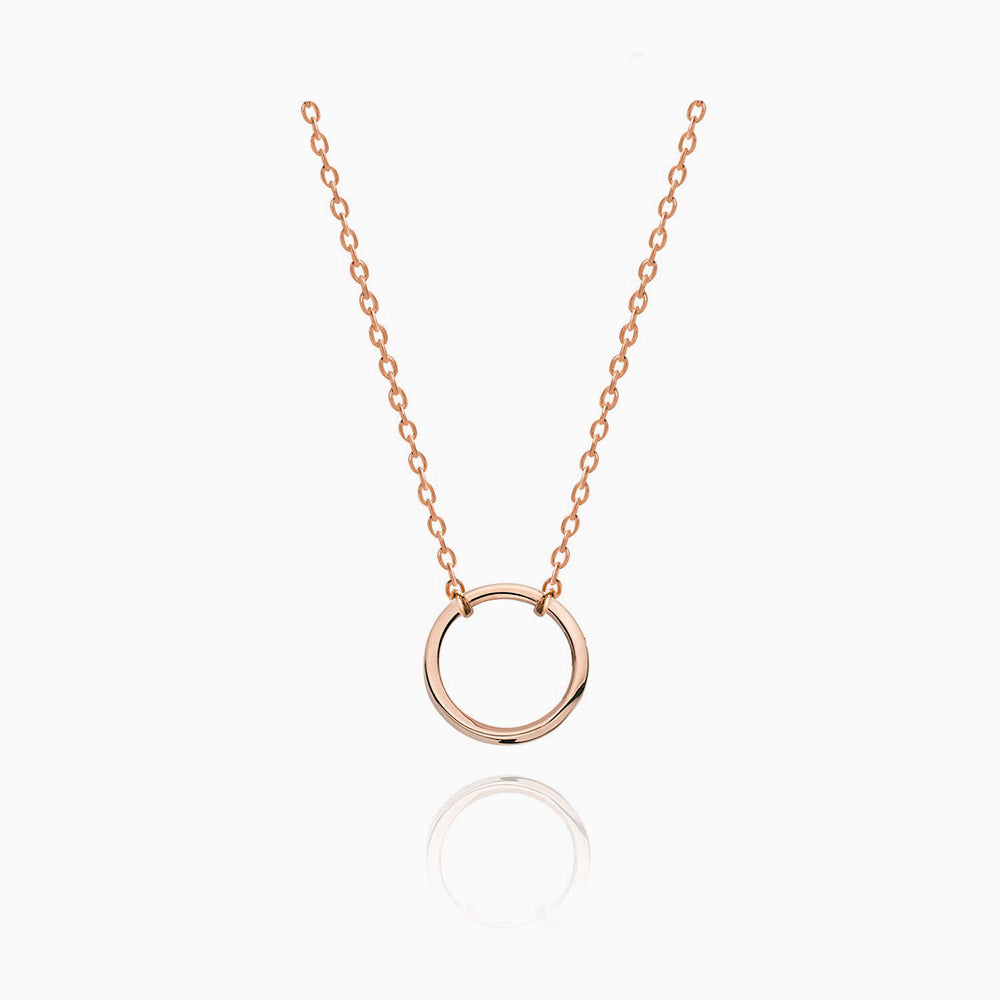 Karma Open Circle Necklace rose gold