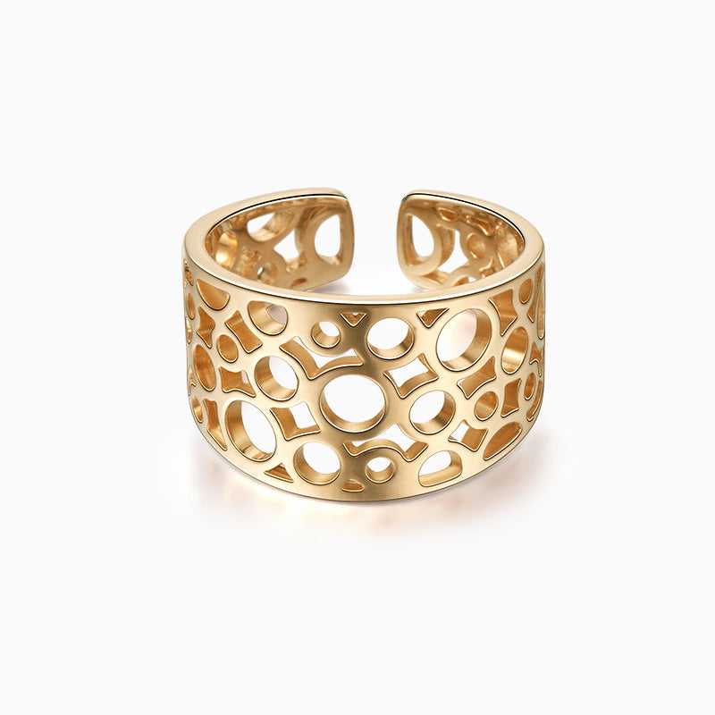 Circle Hollow Statement Ring gold