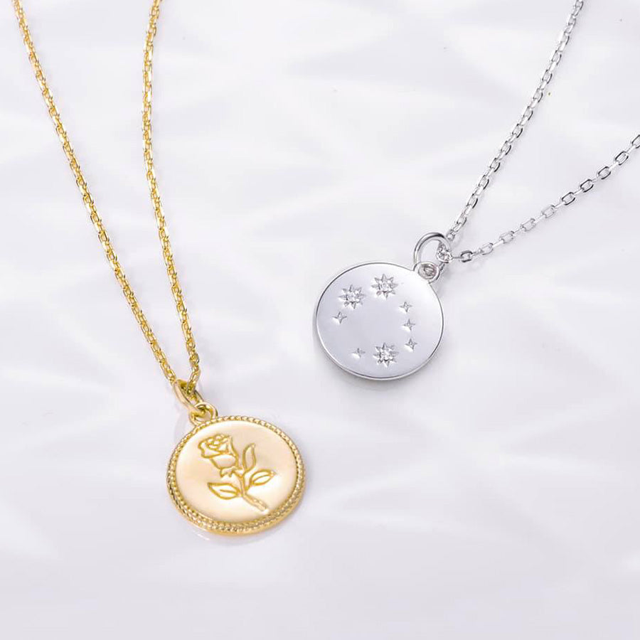 simple Rose Gemini Zodiac Coin Necklace front back necklaces for girls