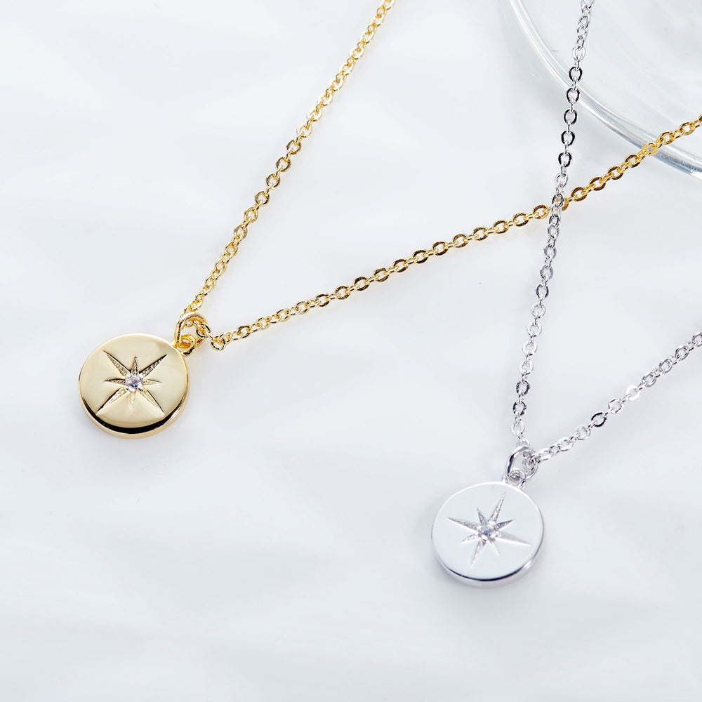 minimalist sterling silver CZ Star Signet Coin Necklace
