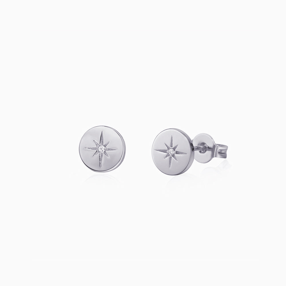 Round Disc Star Stud Earrings