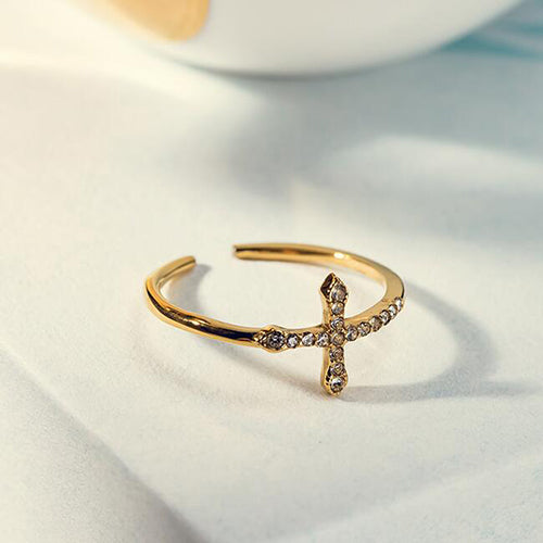 Cubic Zirconia Sideways Cross Adjustable Ring for women