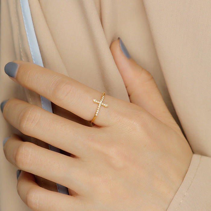 Cubic Zirconia Sideways Cross Adjustable Ring