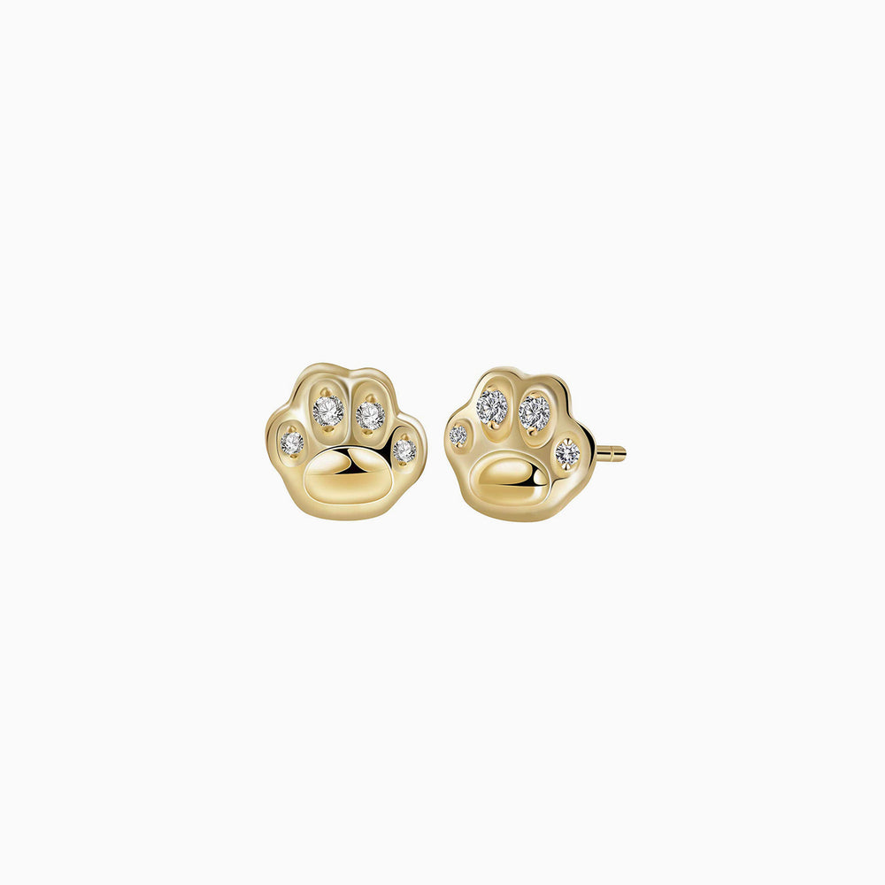 Cubic Zirconia Pet Paw Stud Earrings