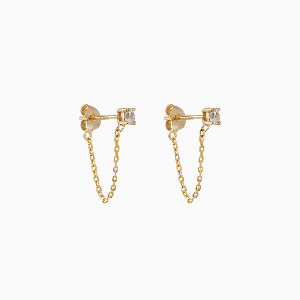 Cubic Zirconia Stud Chain Dangle Earrings gold