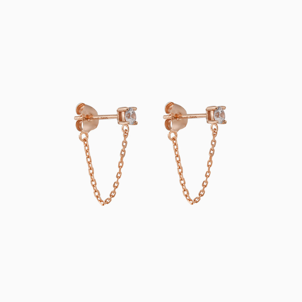 Cubic Zirconia Stud Chain Dangle Earrings rose gold
