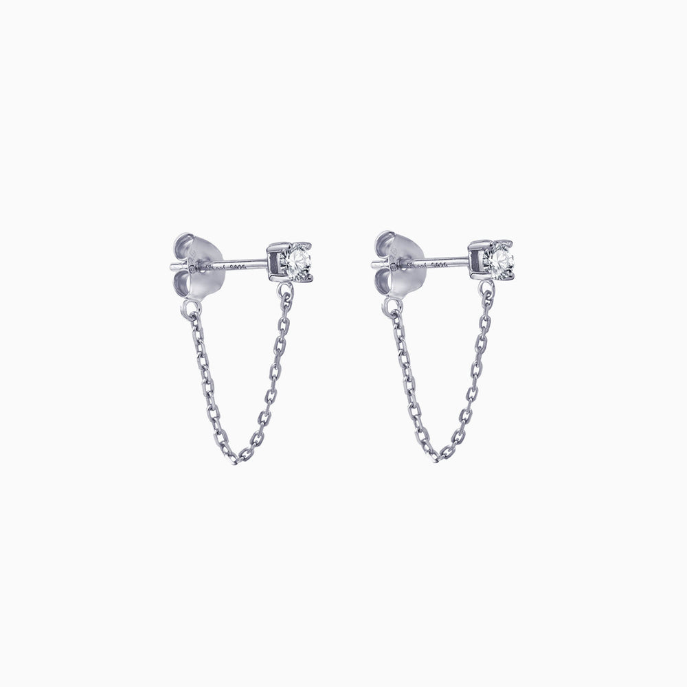 Cubic Zirconia Stud Chain Dangle Earrings sterling silver