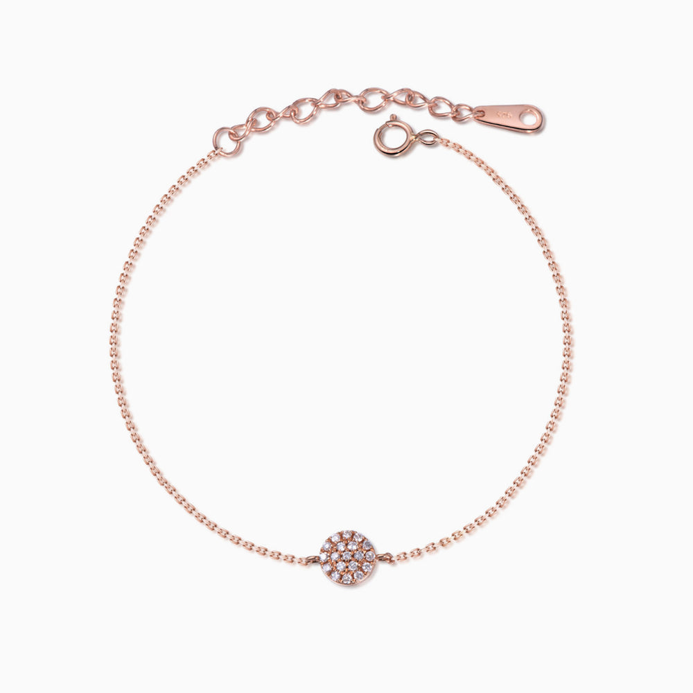 CZ disc bracelet rose gold