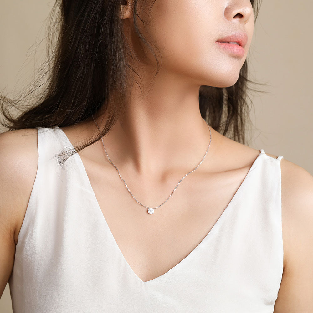 disc tiny cute necklace silver