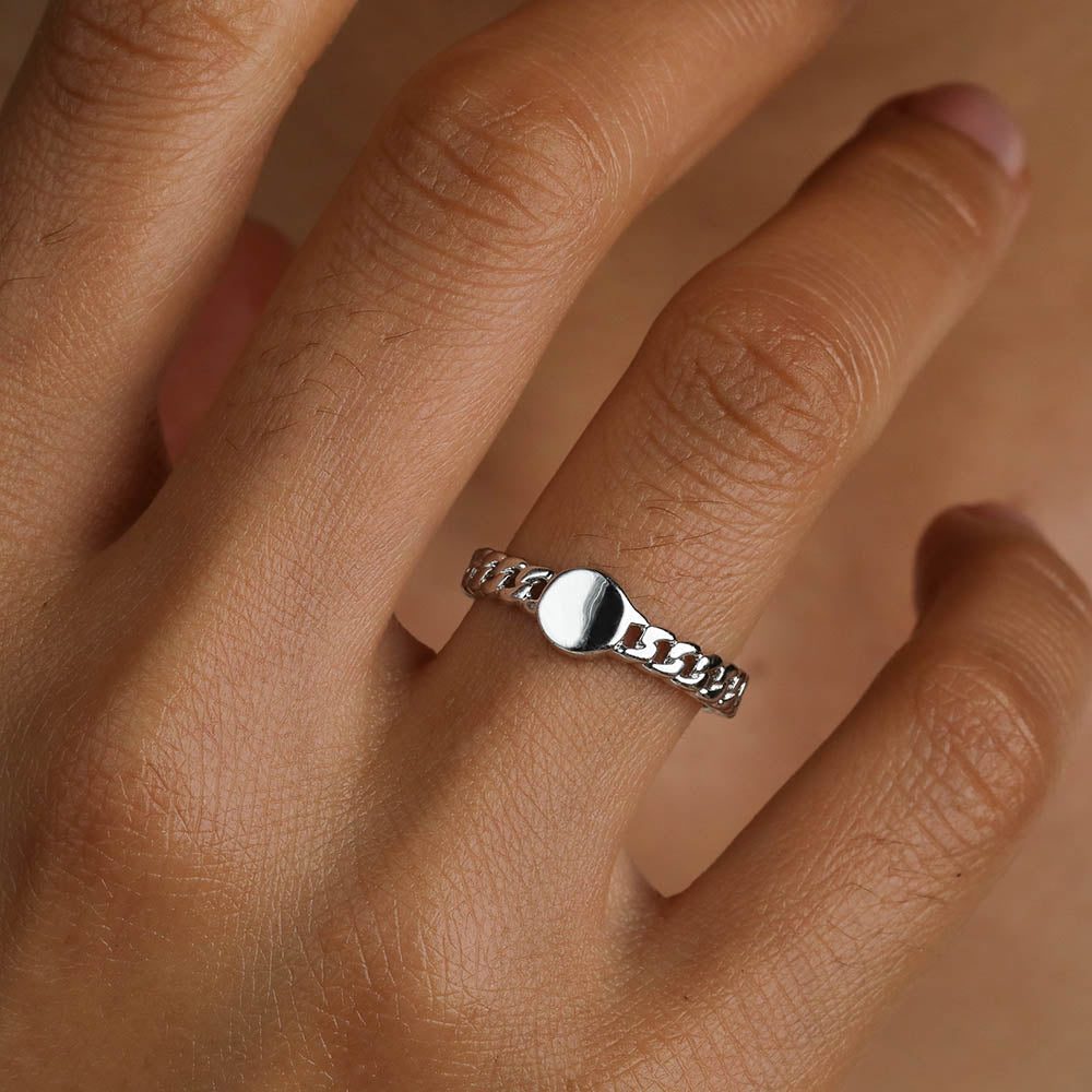 Dot Chain Adjustable Ring sterling silver