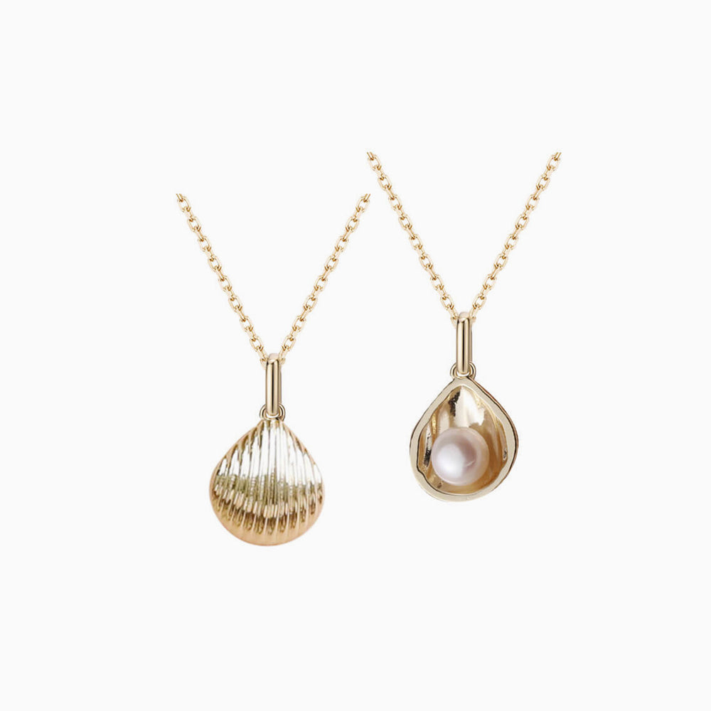 Natural Pearl Gold Shell Pendant Necklace