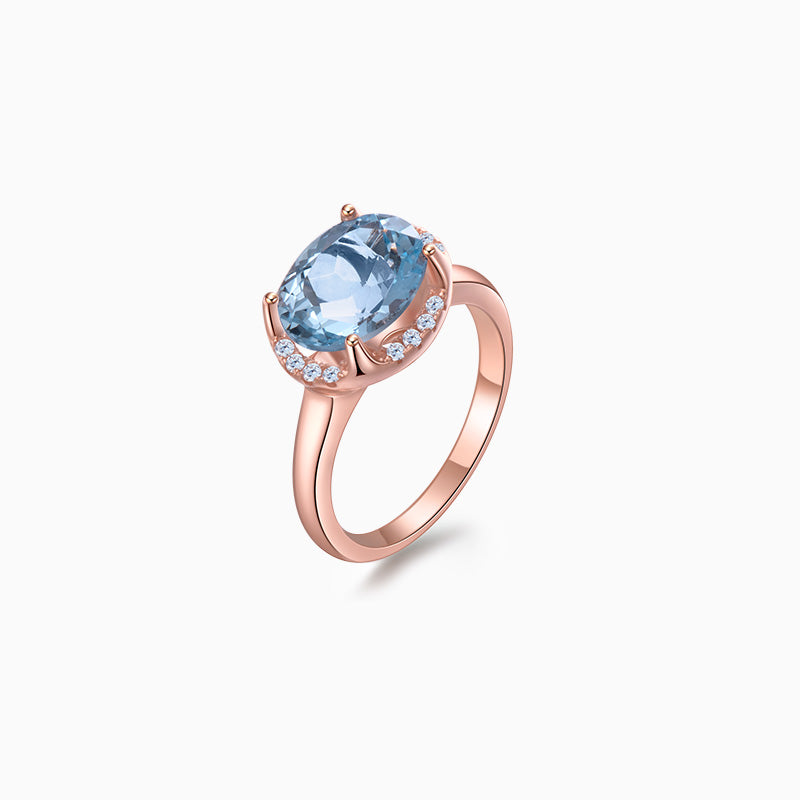 London Blue Topaz Ring rose gold