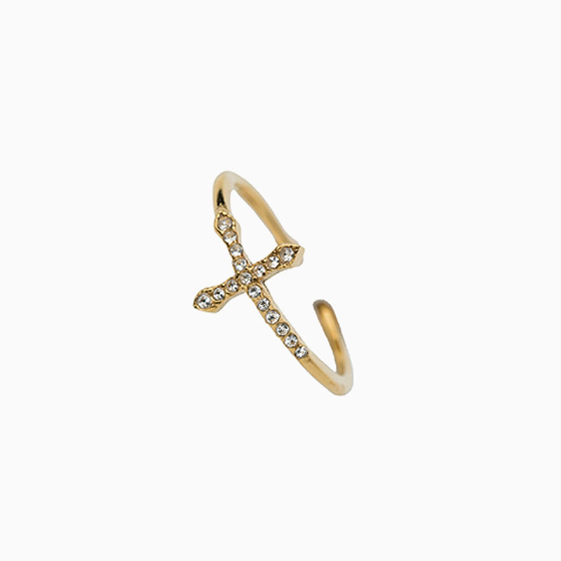 CZ Sideways Cross Ring Adjustable gold