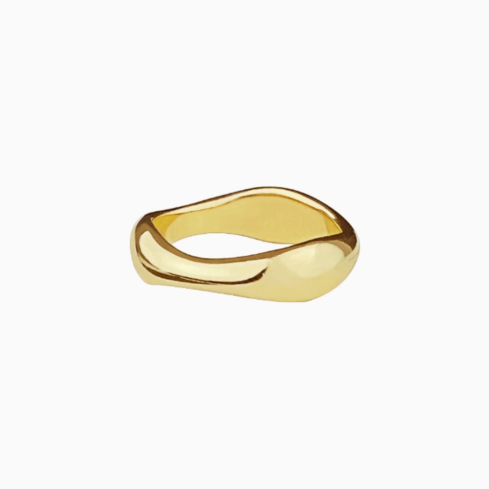 18K gold plated Flowing Curve Ring