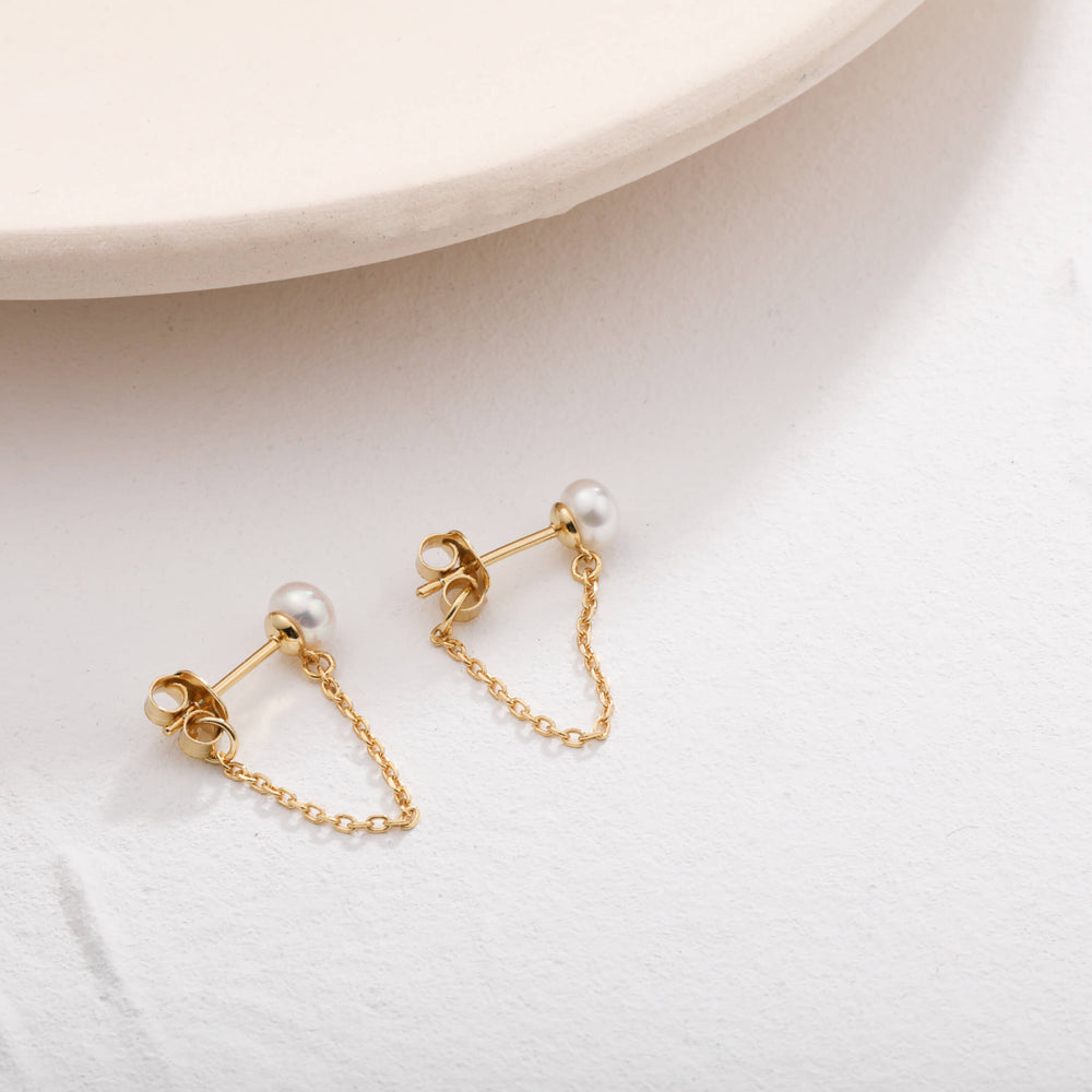 dainty pearl stud with chain dangle earrings for women