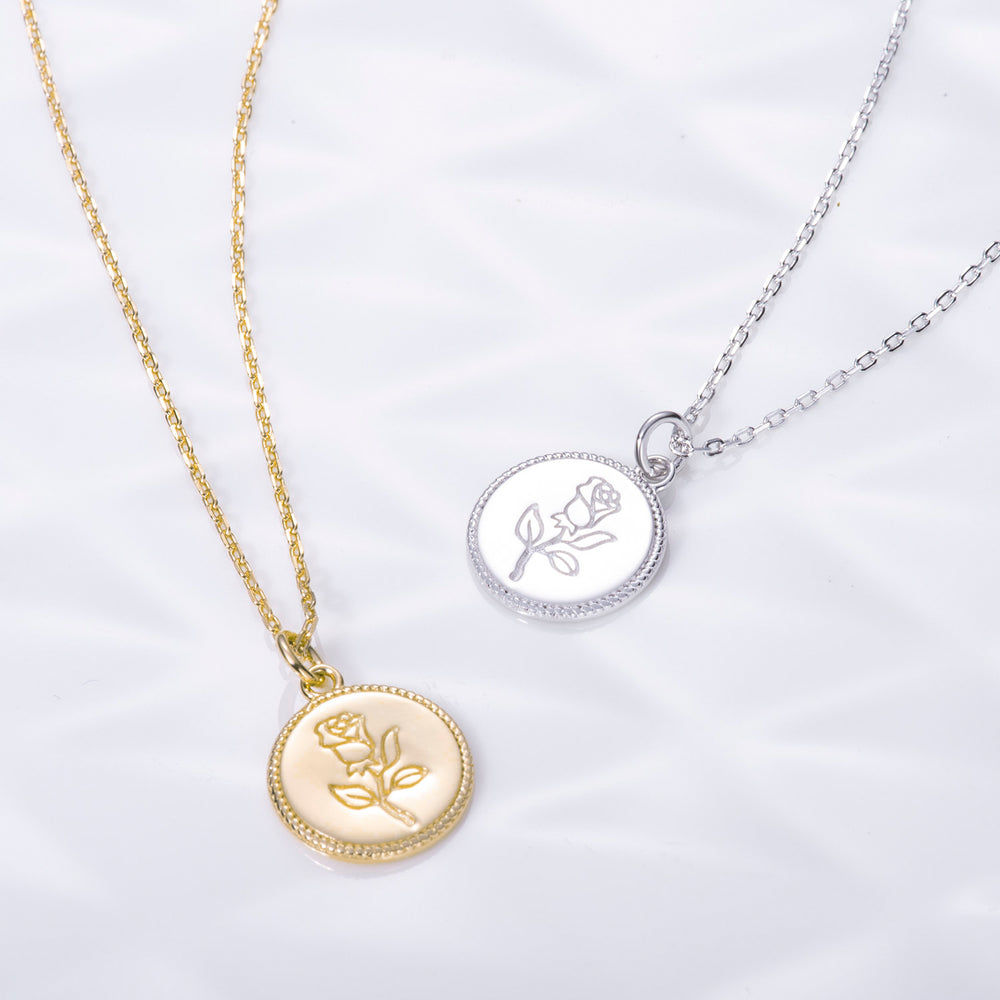 dainty simple Rose Gemini Zodiac Coin Necklace