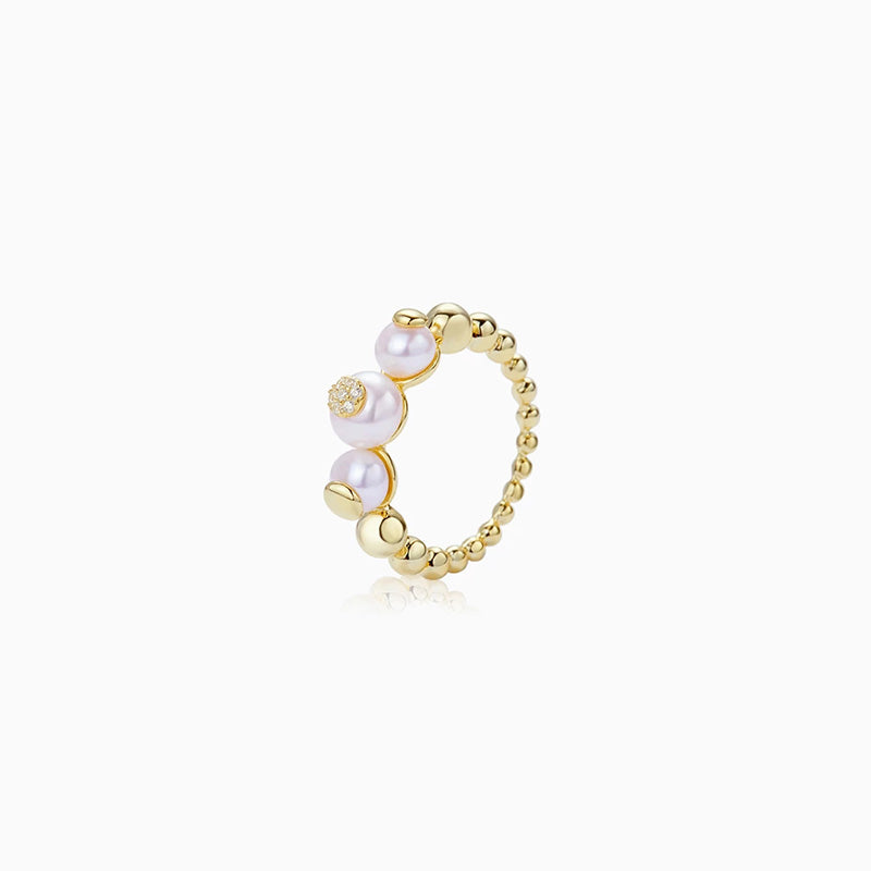 Bubble Ball pearl cocktail Ring gold