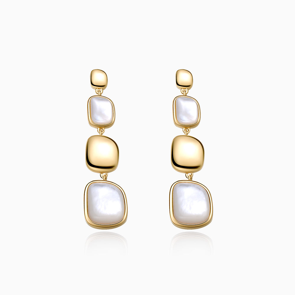 Handmade Mother of Pearl Drop Earrings gold