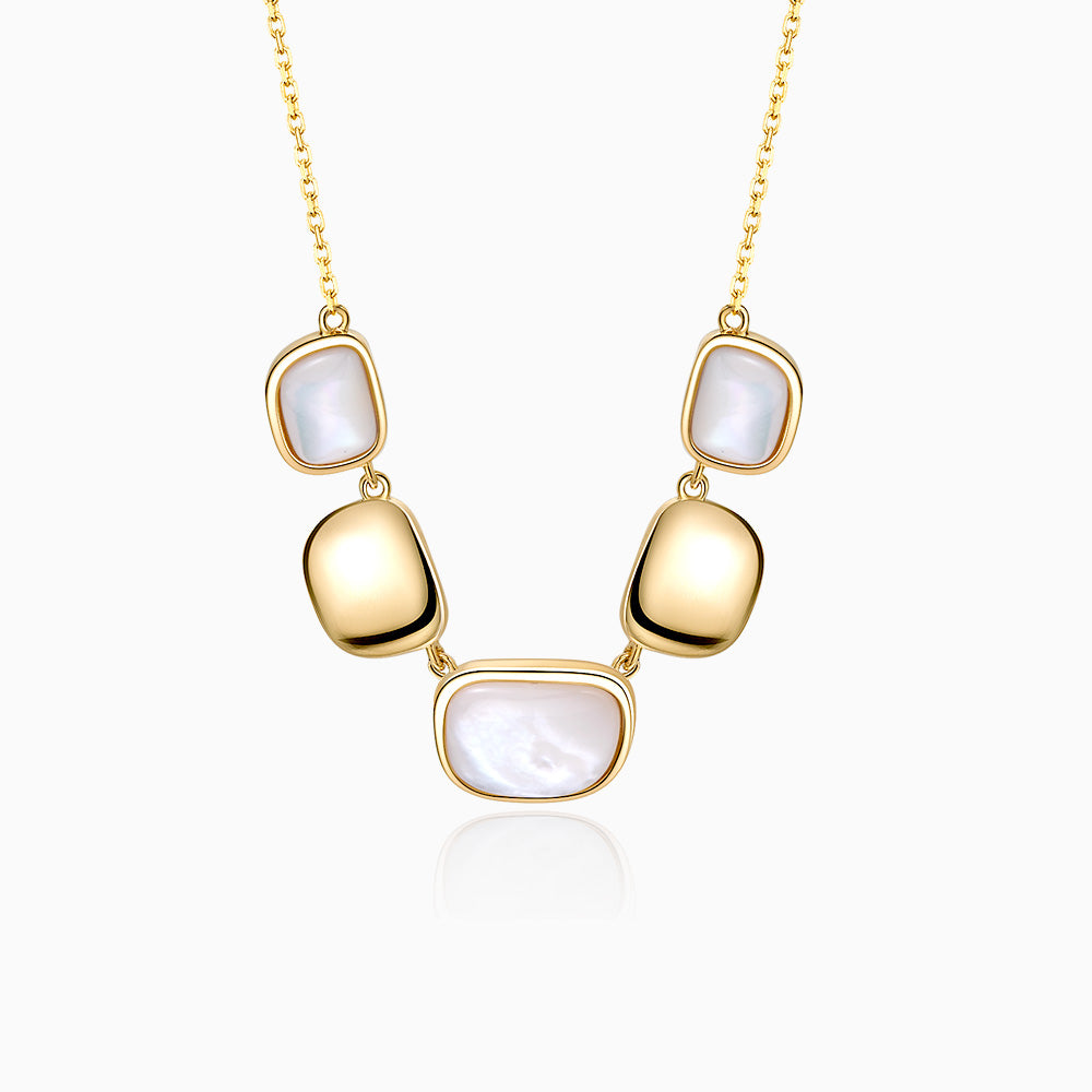 Handmade Mother Of Pearl Necklace sterling silver gold plated