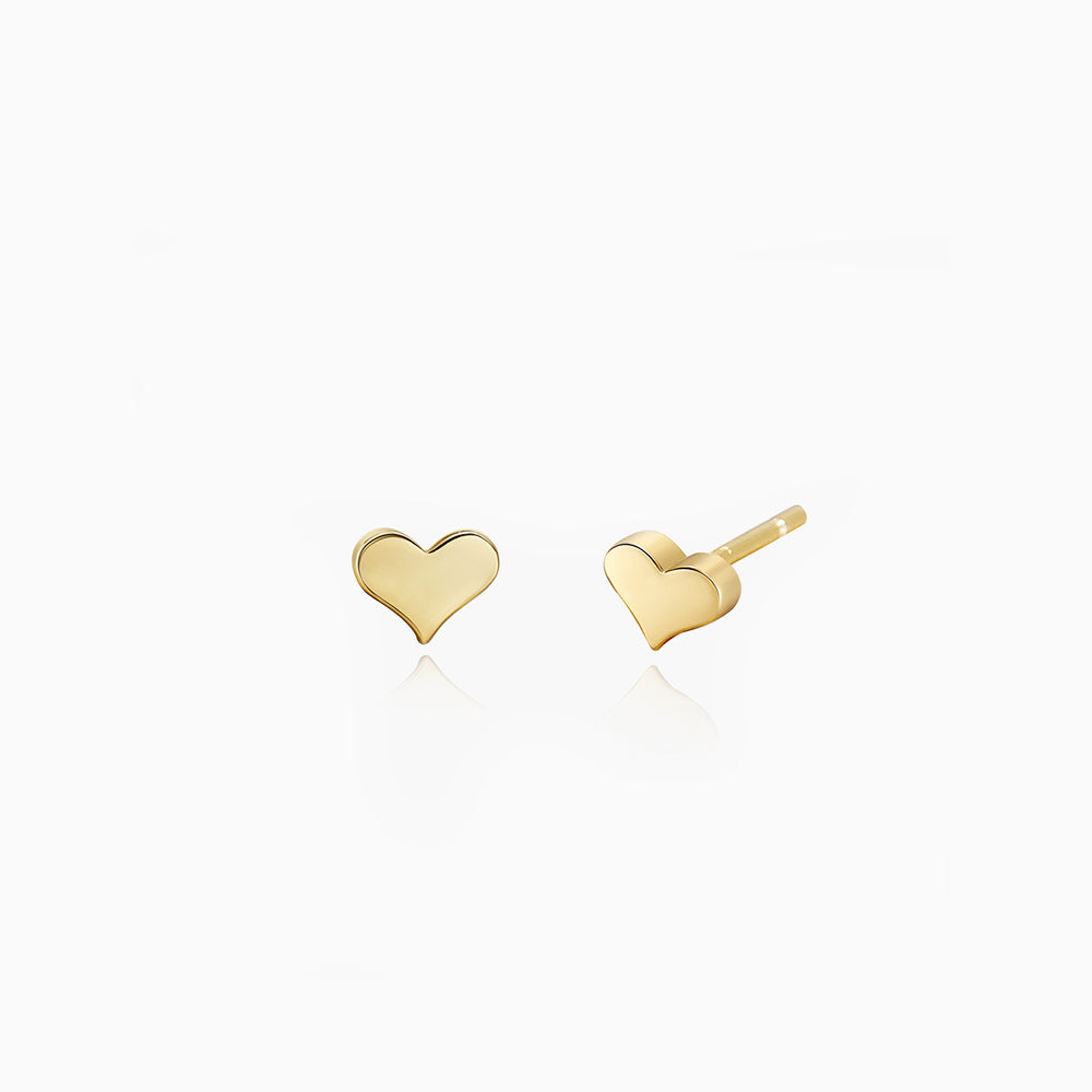 Heart Stud Earrings sterling silver gold plated