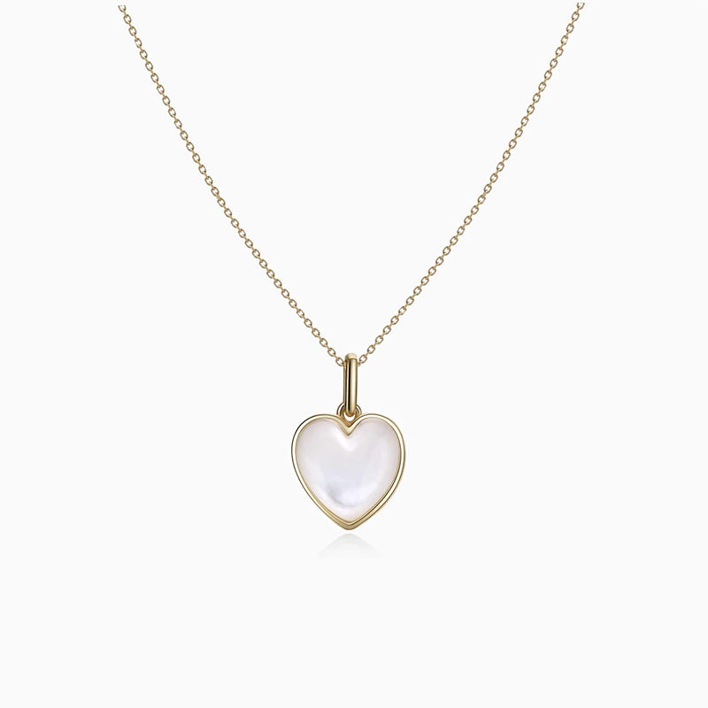 Mother of Pearl Heart Pendant Necklace gold