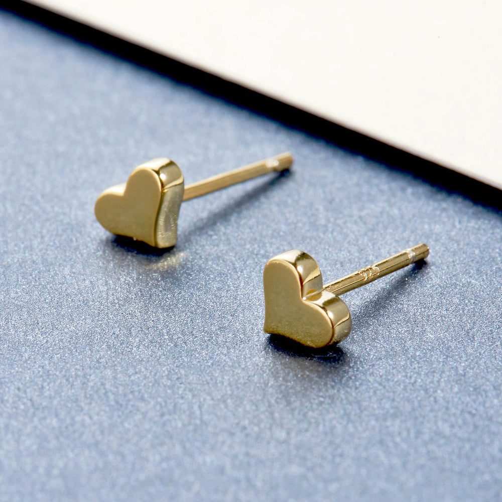 dainty tiny Heart Studs