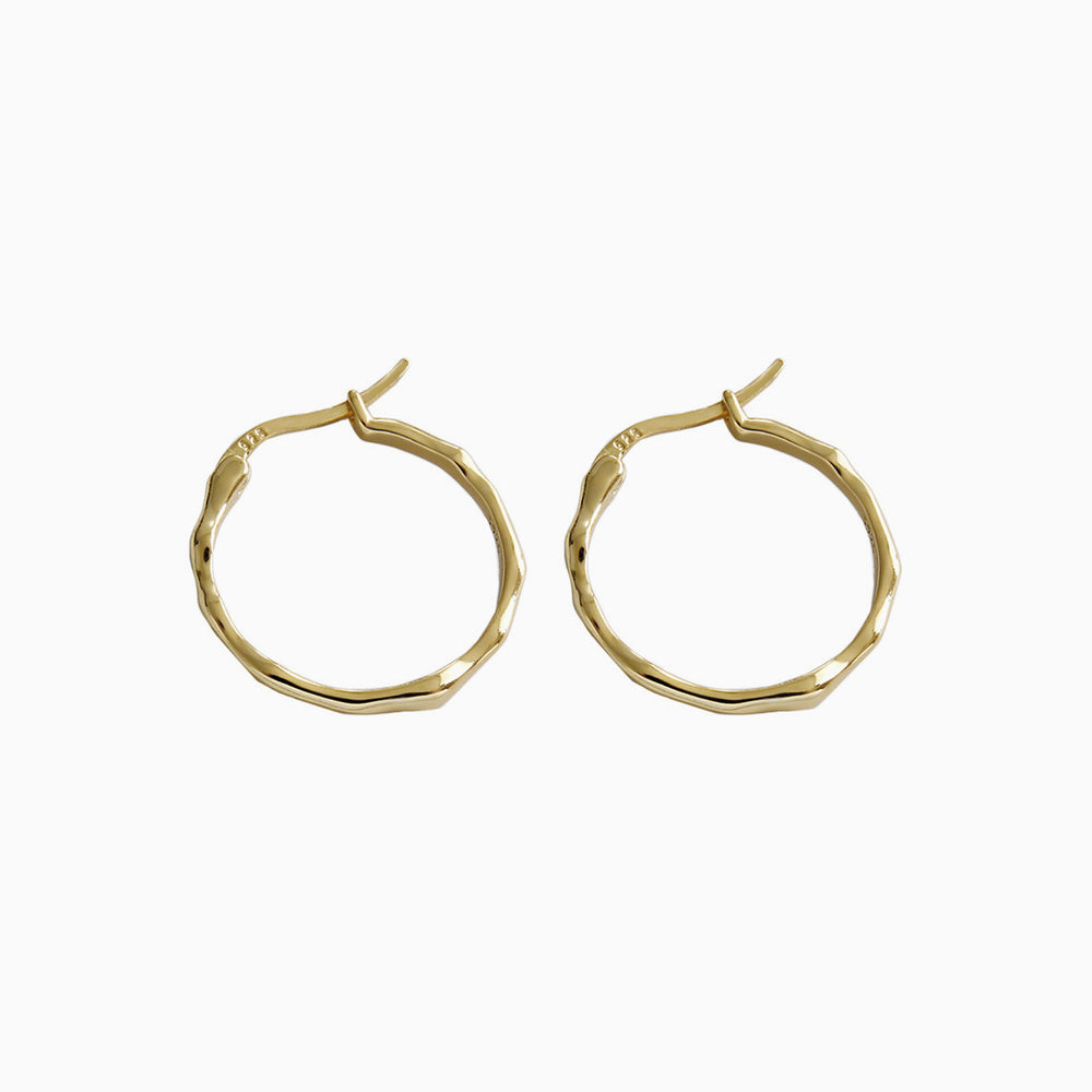 Irregular Surface Thin Hoop Earrings for women