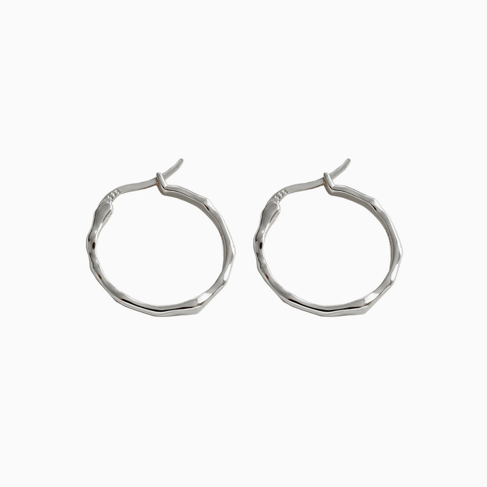 925 sterling silver Irregular Surface Thin Hoop Earrings