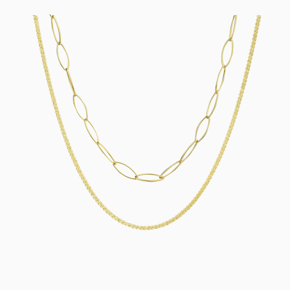layered chain choker necklace gold