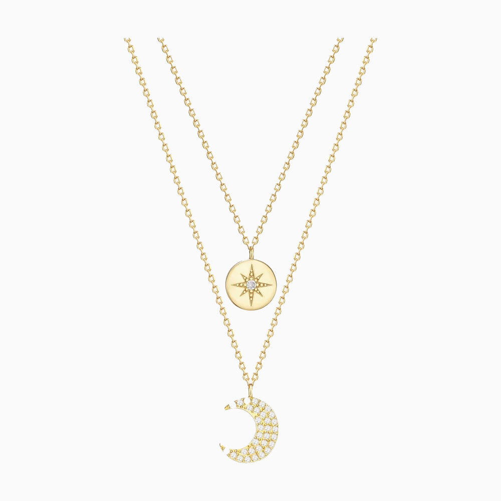 Star Signet Moon Layered Necklace Chain choker