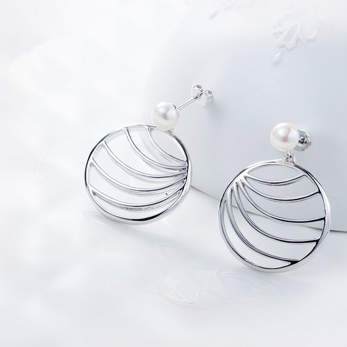 palm leaf drop earrings silver