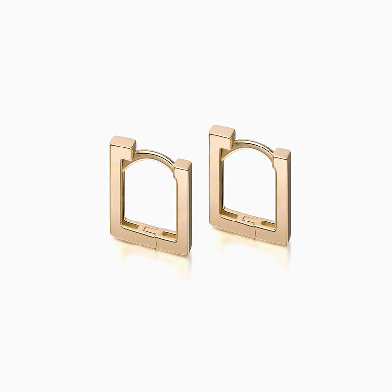 Long Square Hoop Earrings gold