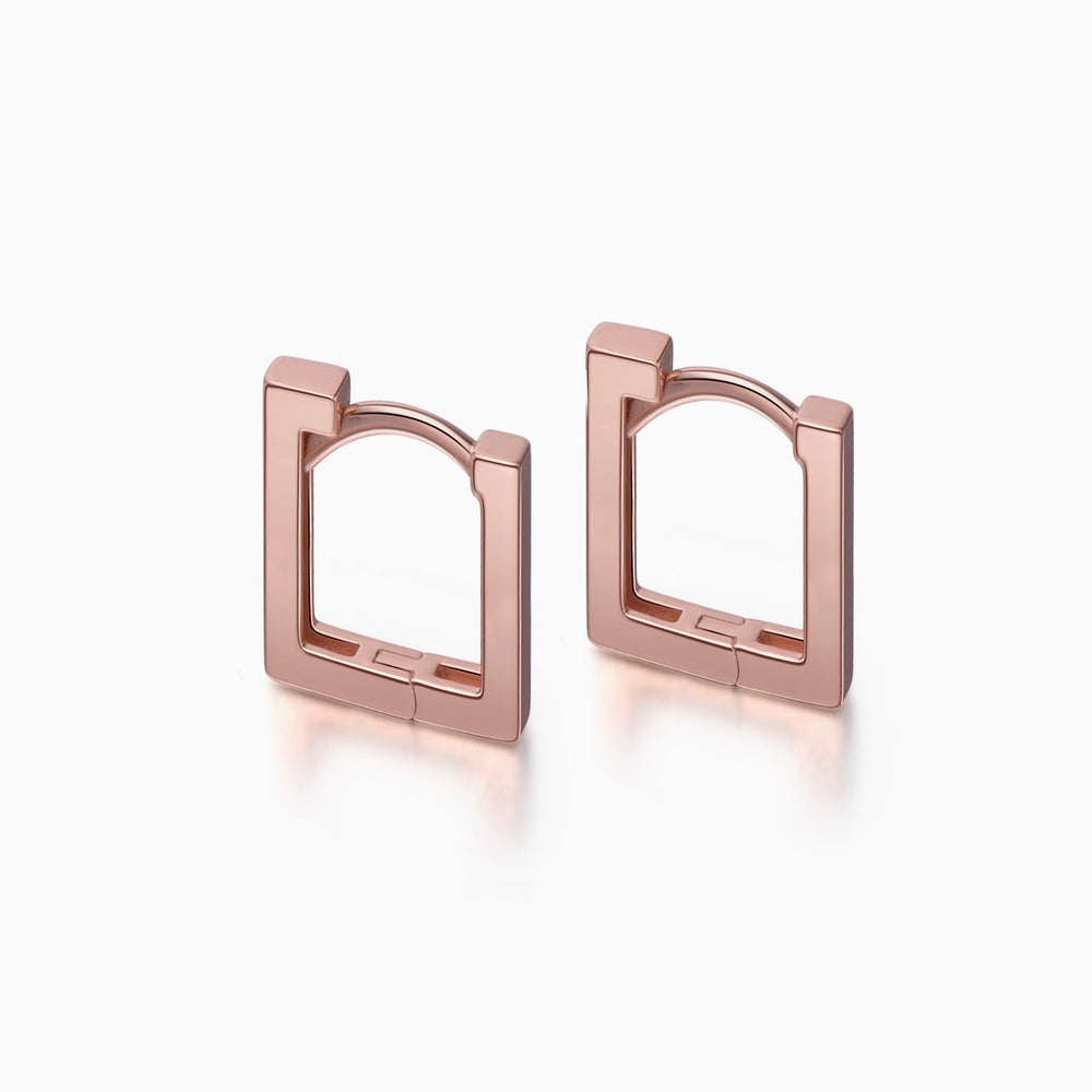 Long Square Hoop Earrings rose gold