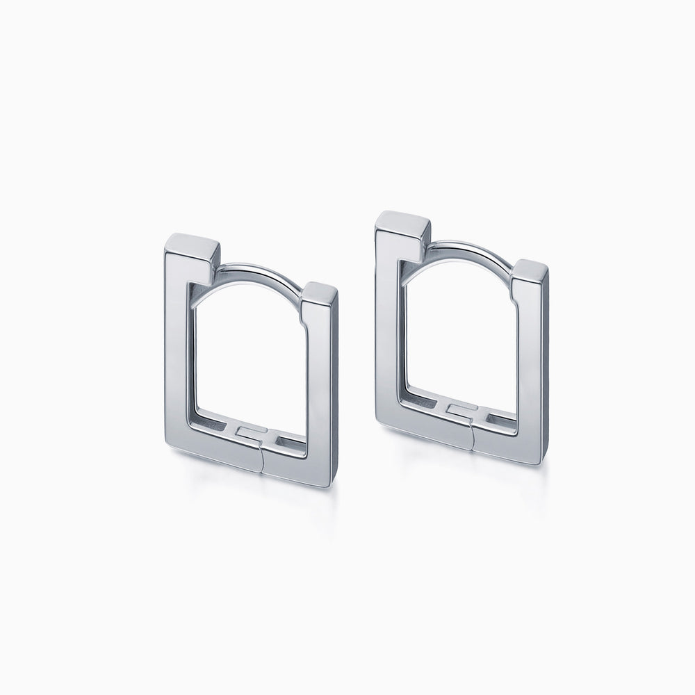 minimalist Long Square Hoop Earrings sterling silver